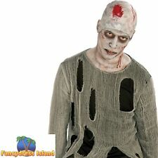 ZOMBIE BALD CAP BLOODY WIG mens ladies womens fancy dress costume accessory