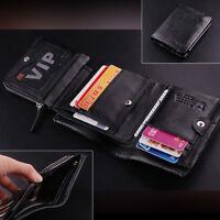 100% Men's ITALIAN Patent Leather Trifold Pocket Wallet Purse Black Luxury New