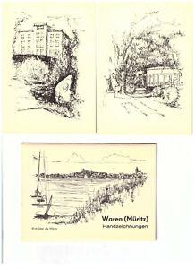 8833 Ansichtskarten/Postkarten Waren Müritz hangzeichnet 10 Stk.