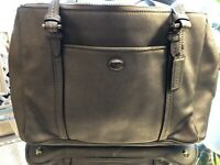 Coach F25669 Peyton Leather Double Zip Carryall Silver Handbag
