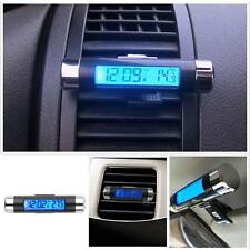 1x Car 2In1 Air Vent Clip-on Electronic Clock Time Thermometer LED Backlight UP
