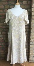 Silk Frank Usher UK 16 Beige & Stone Floral Print Day Dress Cape Effect Sleeve