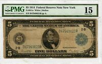 1914 $5 Fr 851a PMG CF-15 Large Size United States Currency Note New York 8012