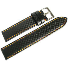 22mm Hadley-Roma MS847 Black Orange Stitch Carbon Fiber Leather Watch Band Strap