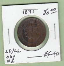 1891 Canadian Large One Cent Coin - LD/LL Obverse 2 - EF-40