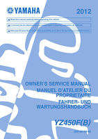 Yamaha YZ450F B YZ450 2012 Owners Service Manual, FREE SHIPPING