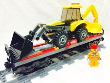 Lego City Red Cargo Train Tractor Flatbed + Figure Mint 60052/60098/7939/3677