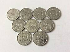 série complète de 9 pièces de 50 cent. Morlon alu léger de 1941 à 1947 TTB Sup