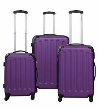 3 Piece Luggage Set Hard Shell Spinner Wheels Purple