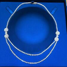 Platinum Sterling Silver White Sapphire Flower Halo Double Tennis Necklace 16""