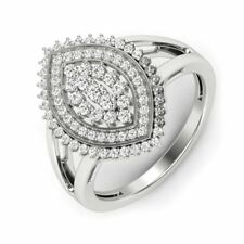 925 Sterling Silver Fine Diamond Ring Wedding/Engagement Marquise Statement Ring