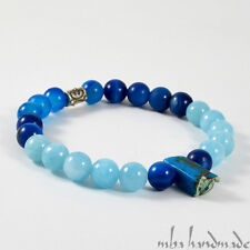 MEN'S NATURAL GEMSTONE VARISCITE & BLUE AGATE & QUARTZ CRYSTALS BEADED BRACELET