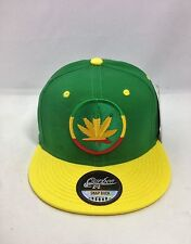 WEED HAT/ Snapback Cap/ Kush, Ganja Leaf- Green And Yellow Base Ball Caps NEW