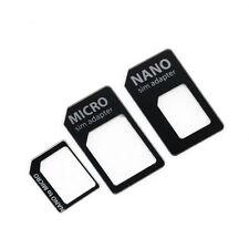 3 in 1 Nano SIM to Micro Standard SIM MICROSIM Adaptor Adapter for iPhone 5 KK