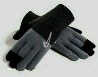 Nike Knit Grip Youth Junior Warm Winter Gloves Touch Screen Compatible Grey Blk