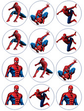 12 PRECUT Spiderman Edible Wafer Paper Cupcake Toppers