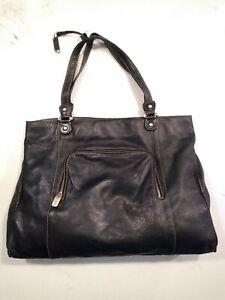 LC Lauren Conrad purse Bag Black Leather gold time zipper hand bag carry