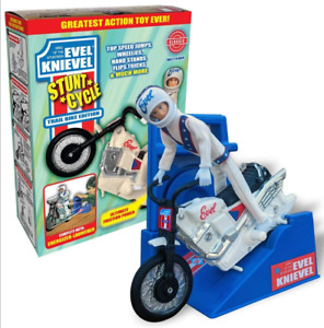NEW EVEL KNIEVEL STUNT CYCLE SET, LIMITED WHITE TRAIL BIKE EDITION