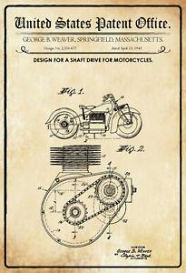 US Patent Wellenantrieb Motorrad 1943 Blechschild Tin Sign 20 x 30 cm P0042