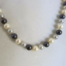 Fresh Water White Grey Black Pearl Necklace 18 in 14k Clasp 6.00mm [3291]