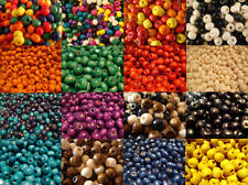 WOODEN ROUND WOOD BEADS CHOOSE BETWEEN 200 x 8MM OR 100 x 10MM MANY COLOURS