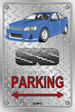 Parking Sign Metal VE-Retro VK Commodore Blue Aeros - Checkerplate Look
