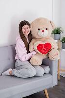 "LARGE 27"" I LOVE YOU U HUGE TEDDY GIANT BEAR SOFT TOY STUFFED GIFT BROWN WHITE"