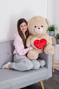I LOVE YOU U GIANT LARGE PLUSH TEDDY BEAR HEART WEDDING BIRTHDAY & FREE GIFT NEW