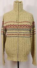 VTG L.L. Bean Sweater Full-Zip Turtleneck Sweater Brown Fair Isle Style Indian