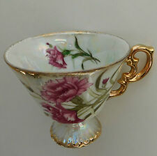 Vintage decorative porcelain cup Pink Carnation January birthday flower CUP ONLY