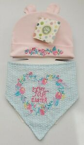 "Little Me 2pc Hat & Bib  set 0-12 M. "" My First Easter"". Senders card included."