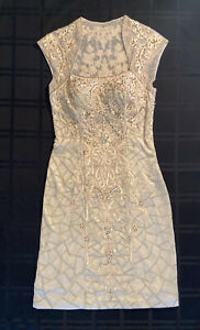 Sue Wong Nocturne illusion back cap sleeve beaded Dress Champagne Size 4 Pre-own