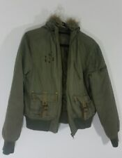 DOROTHY PERKINS Womens Jacket Size 14 Military Green Cropped Thick Hooded Ladies