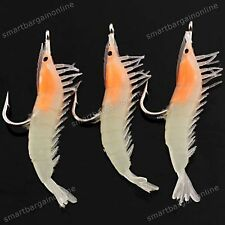 5X Glow in the Dark Soft Shrimp Soft Prawn Fishing Simulation Lure Hook Bait