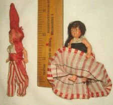 """Vintage DOLLS HOUSE DOLLS x 2 poseable 2"""" Thin Celluloid, Clothed c1910"""