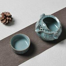 Ice Veins Chinese Longquan Kiln Celadon Handmade Teapot & Teacup Gongfu Tea Set