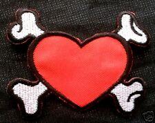 Punk rock rockabella emo ska X-Bones Love corazón Patch