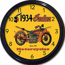 Indian Motorcycle Wall Clock 1934 Chopper Hog Biker Munro Easy Rider Garage 10""