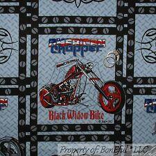 BonEful Fabric FQ Cotton Quilt VTG B&W Red Blue Motorcycle American Chopper Bike