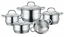 CONCORD 9 Piece Stainless Steel 5-Ply Cookware Set Steamer Induction Compatible