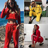 2Pcs Set Women Hoodie Sports Crop Top Sweatshirt Track Pants Sweatsuit Tracksuit