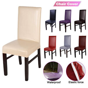 Stretchable PU Leather Dining Chair Cover Seat Protector Waterproof Slipcover`