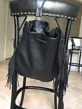 VICTORIAS SECRET Fringe Backpack Black Faux Leather