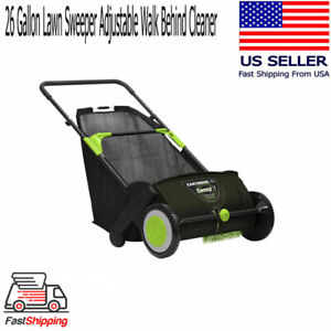 Large Lawn Sweeper Walk Behind Push Wheels 26 Gal Bag Collect Brushes Leaf Grass