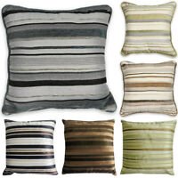 """Luxury STRIPED Chenille Suede Filled Cushions or Cushion Covers 18"""" / 45cm"""