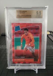 2018 Panini Donruss #196 Justin Kluivert RATED ROOKIE RC Red Press Proof BGS 9.5