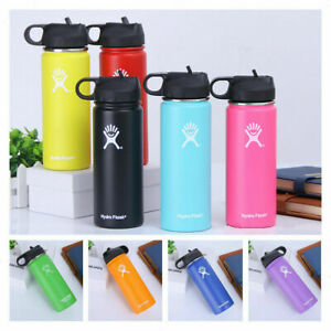Stainles Water Bottle Hydro-Flask Insulated Wide Mouth Straw Lid Cups 18/32/40oz