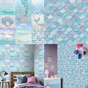 Arthouse Mermazing Ice blue & Mermazing Mermaid Scales Ice blue Wallpaper