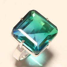 FREE SHIPPING BI-COLOR TOURMALINE 925 SILVER RING 7.75