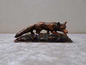 Schwere Metall Figur Skulptur Tier Fuchs - Kupferoptik - Vintage - Jagd - DEFEKT